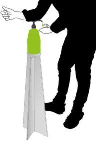 Trépied support design gel hydroalcoolique