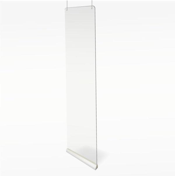 salle d'attente coiffeur cloison suspendue protection écran plexiglass plexi transparente plastique covid corona