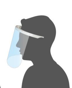 Visière plexiglas transparente